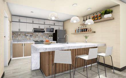 Cocina con barra: Cocinas equipadas de estilo  por Minkarq. Arquitectura y construcción