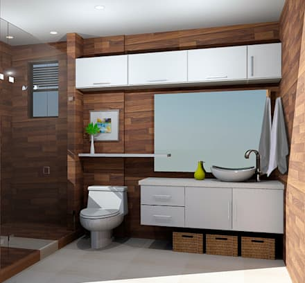 propuesta baño: Baños de estilo moderno por Omar Plazas Empresa de  Diseño Interior, remodelacion, Cocinas integrales, Decoración