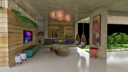 Salas de entretenimiento de estilo rústico por Fabrício Cardoso Arquitetura