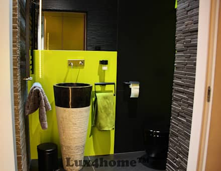 black stone pedestal sink: tropical Bathroom by Lux4home™ Indonesia