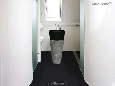 black stone pedestal sinks - Freestanding Marble Sink: scandinavian Bathroom by Lux4home™ Indonesia