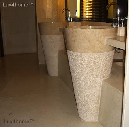 free standing marble basin - Pedesta Stone Basins Sinks: colonial Bathroom by Lux4home™ Indonesia