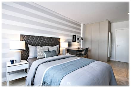The Gray Stripes room: Quartos modernos por RG Home Stylist