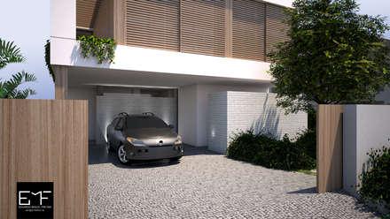 Garajes abiertos de estilo  de EMF arquitetura