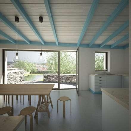 Casa Cabeço de Vide, Portugal: Armários de cozinha  por brf architecture