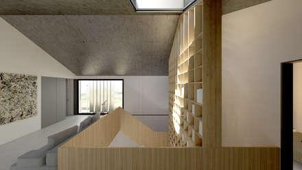 Loft em Marvila, Lisboa, Portugal: Escadas  por brf architecture