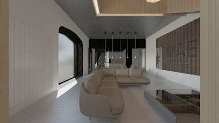 Loft em Marvila, Lisboa, Portugal: Salas de estar industriais por brf architecture