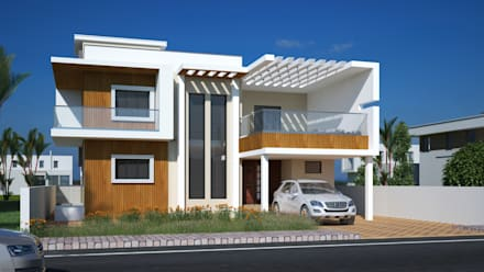 Betala front Elevation:  Bungalows by Cfolios Design And Construction Solutions Pvt Ltd