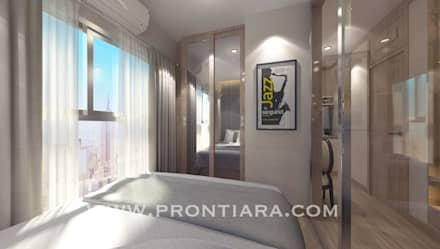ตกแต่ง พลัมคอนโด รามคำแหง:  ห้องนอน by Prontiara