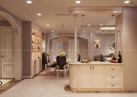 Nội thất căn hộ Vinhomes Central Park - Phong cách Tân Cổ Điển:  Phòng ăn by ICON INTERIOR