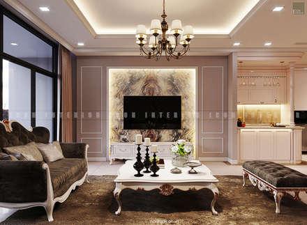 Nội thất căn hộ Vinhomes Central Park - Phong cách Tân Cổ Điển:  Phòng khách by ICON INTERIOR