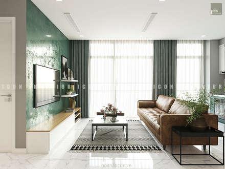 Nội thất căn hộ Vinhomes Ba Son - ICON INTERIOR:  Phòng khách by ICON INTERIOR