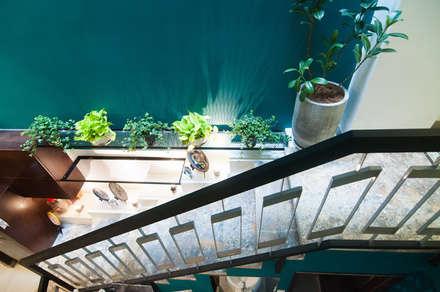 Bắt Mắt Với Thiết Kế Nhà Ống Nhỏ 48m2 Trẻ Trung Và Đương Đại:  Cầu thang by Công ty TNHH Xây Dựng TM – DV Song Phát