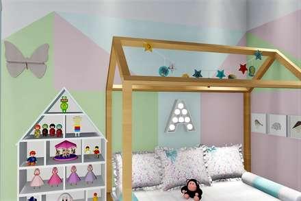 Quarto da pequena Alice: Berçários  por Trivisio Consultoria e Projetos em 3D