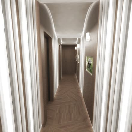 Half & Half Circle Residenence:  Corridor & hallway by TheeAe Architects