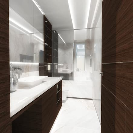 Half half circle residenence modern bathroom by theeae architects