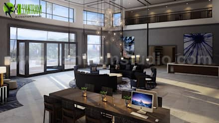3D Hotel lobby Interior Design:  Hotels by Yantram Architectural Design Studio