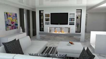 Progettazione Soggiorni, Biocamini e Cartongesso: Sala multimediale in stile  di Studio Interior Design Berti Daniela S.r.l.