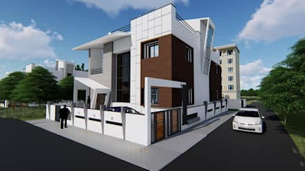 Bungalows  por Cfolios Design And Construction Solutions Pvt Ltd