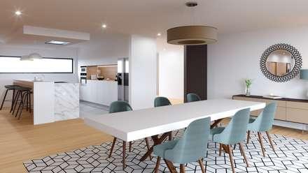 Habitação M&S: Salas de jantar modernas por Fabio Pereira & João Fraga, Arquitetos