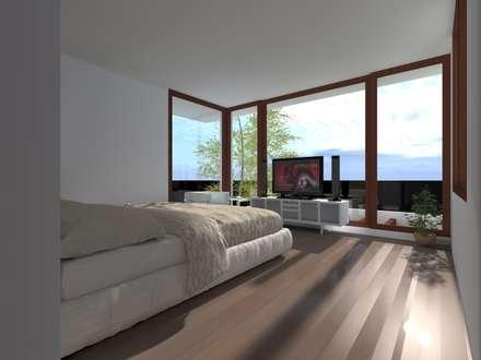 CASA ERRAZURIZ-HUECHURABA : Dormitorios de estilo moderno por Casabella