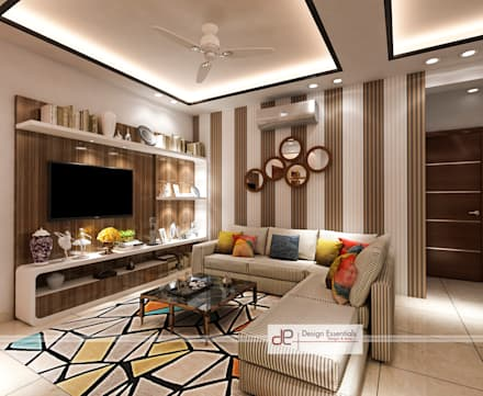 DDA Flat At Vasant Kunj: Minimalistic Living Room By Design Essentials