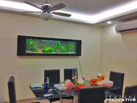 Crystal Black Wall Mounted Aquarium 7 feet: tropical Dining room by Seazone Innovative Sdn Bhd