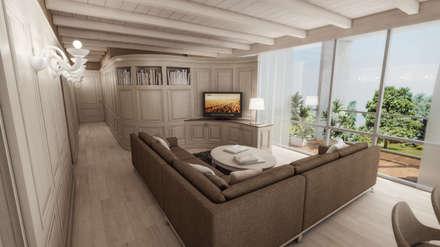 boiserie mobile tv: Soggiorno in stile in stile Coloniale di studiosagitair