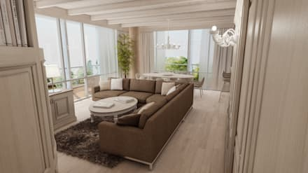 open space: Soggiorno in stile in stile Coloniale di studiosagitair