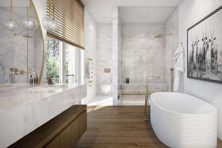 Penthouse in München: moderne Badezimmer von winhard 3D