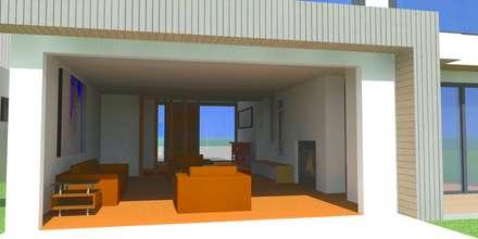 CASA CHICUREO : Pasillos y hall de entrada de estilo  por Incubar: Arquitectura & Construcción