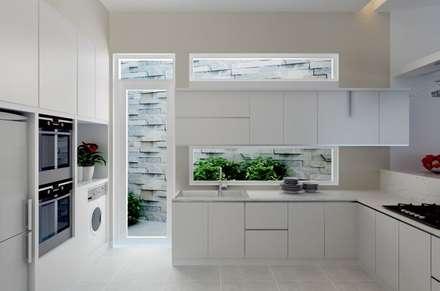 Cửa sau tại bếp giúp lưu thông không khí, tránh ám mùi thức ăn vào nhà.:  Bếp xây sẵn by Công ty TNHH Xây Dựng TM DV Song Phát