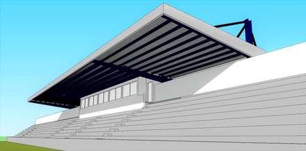 Cobertura da Bancada do Estádio Municipal de Angra do Heroísmo: Estádios  por PE. Projectos de Engenharia, LDa