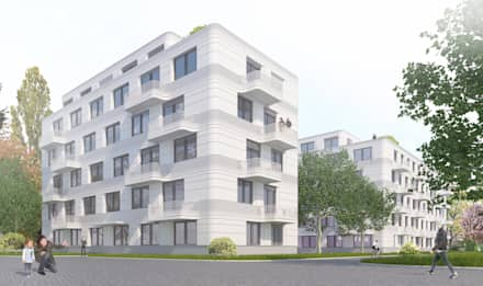 Wohnen am Leopoldplatz // 130 Mietwohnungen:  Mehrfamilienhaus von designyougo - architects and designers