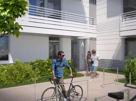 Wohnen am Leopoldplatz // Eingangsbereich:  Mehrfamilienhaus von designyougo - architects and designers