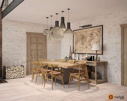 Столовая-гостиная в светлых тонах: Столовые комнаты в . Автор – Art-i-Chok