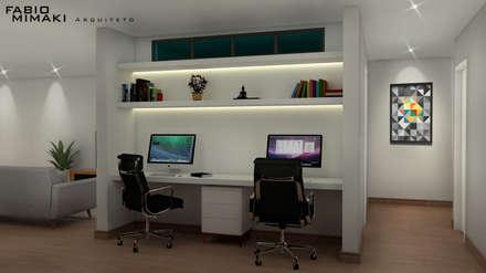 Residencia Minimalista: Escritórios e Espaços de trabalho  por Fabio Mimaki Arquitetura
