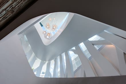 Staircase surrounded by a tree structure:  Stairs by JBA Architects