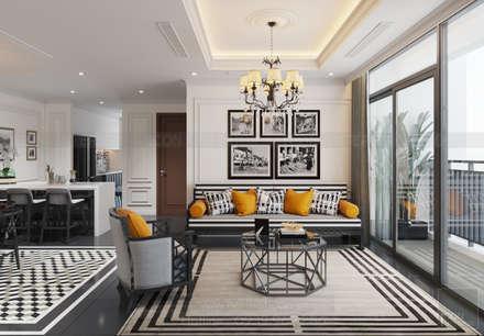 Thiết kế nội thất Vinhomes Central Park - Phong cách Đông Dương:  Phòng khách by ICON INTERIOR
