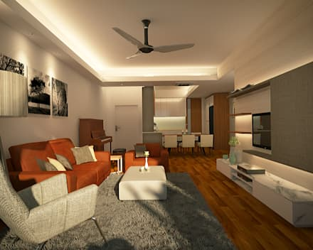 Stonor Luxury Condo: modern Living room by inDfinity Design (M) SDN BHD