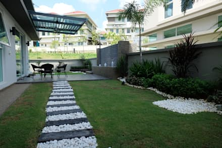 Contemporary Tropical , 3-Storey semi-D: tropical Garden by inDfinity Design (M) SDN BHD
