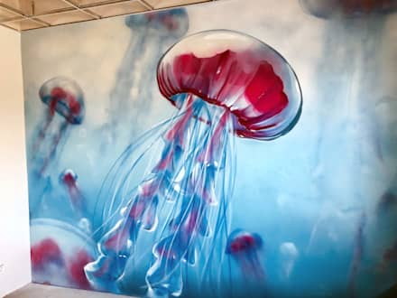 Graffiti Job im Büro für einen Wasserbetrieb in Hannover:  Geschäftsräume & Stores von Graffiti Künstler Bill Knospi