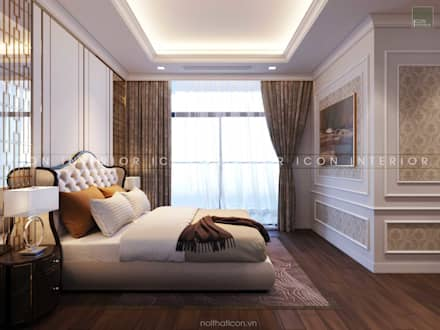 Thiết kế nội thất phong cách TÂN CỔ ĐIỂN cùng căn hộ Vinhomes Central Park:  Phòng ngủ by ICON INTERIOR