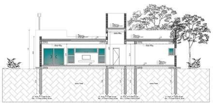 Corte: Casas de estilo moderno por I.S. ARQUITECTURA