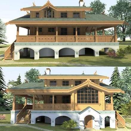 Casas campestres de estilo  por Архитектурное бюро Оксаны Костюченко & C