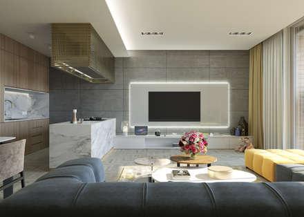 fatih beserek – Salon+mutfak: modern tarz Oturma Odası