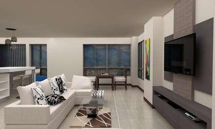Diseño Cocina y Mueble Tv: Salas / recibidores de estilo moderno por Arq. Barbara Bolivar