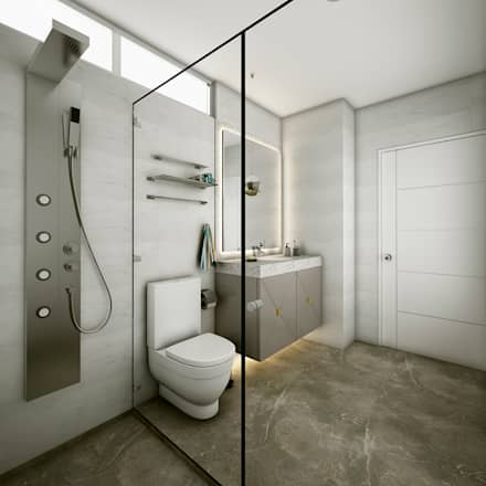 PROYECTO WA : Baños de estilo moderno por Luis Escobar Interiorismo