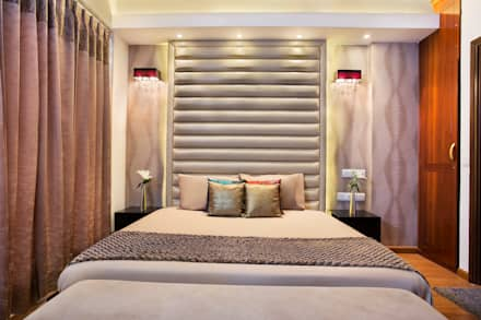 CENTRAL PARK RESORT APARTMENT, GURGAON: eclectic Bedroom by Total Interiors Solutions Pvt. ltd.