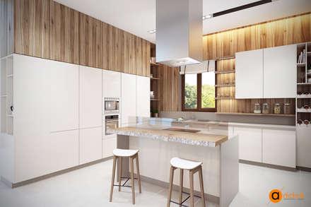 Светлая кухня в белых и коричневых тонах: Кухонные блоки в . Автор – Art-i-Chok